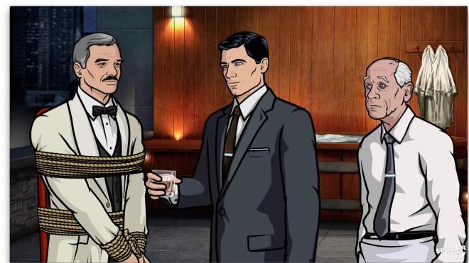 Burt Reynolds, Sterling Archer, and Wodehouse in 'Archer'