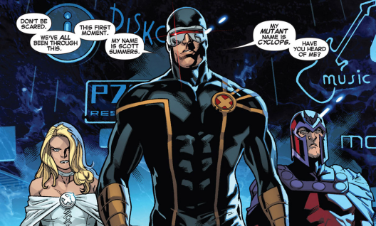 Emma Frost, Cyclops, and Magneto in 'All-New X-Men' #1. Art by Stuart Immonen.
