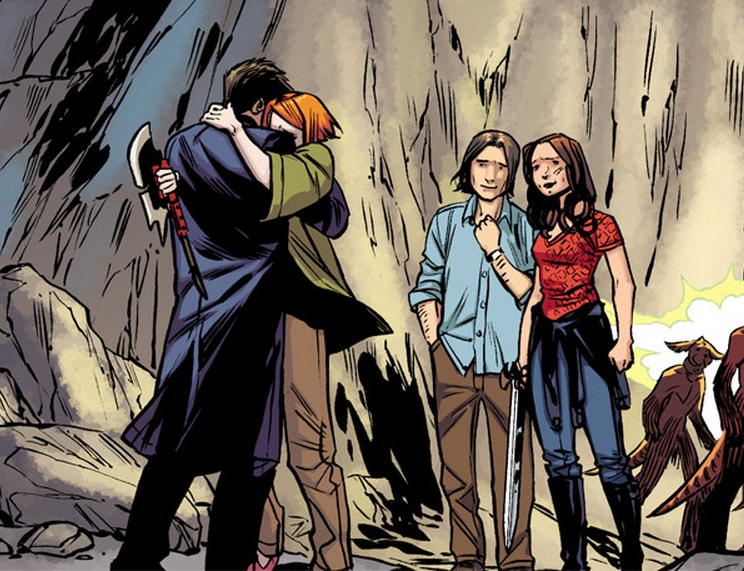 Angel, Willow, Connor, and Faith in 'Angel & Faith' #14. Art by Rebekah Isaacs.