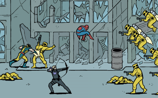 Wolverine, Hawkeye, and Spider-Man in 'Hawkeye' #6. Art by David Aja.