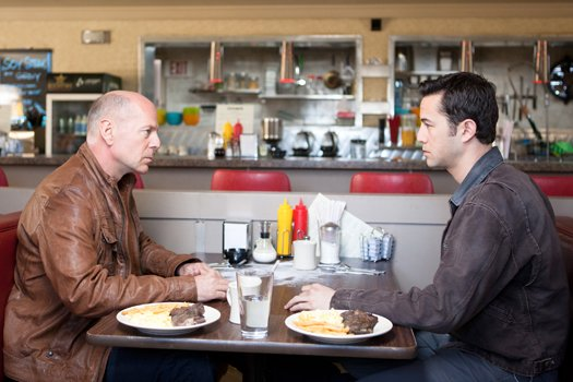 Bruce Willis and Joseph Gordon-Levitt in 'Looper'