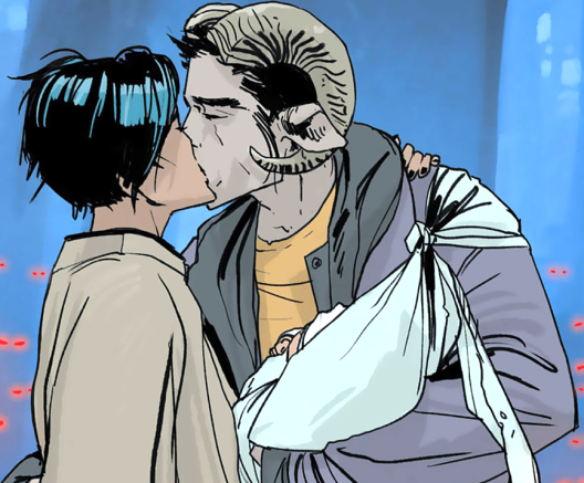Alana, Marko, and Hazel in 'Saga' #1. Art by Fiona Staples.