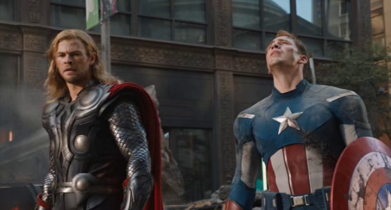 Chris Hemsworth and Chris Evans in 'The Avengers'
