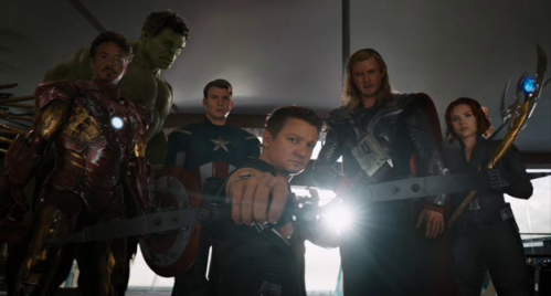 Robert Downey Jr., Mark Ruffalo, Chris Evans, Jeremy Renner, Chris Hemsworth, and Scarlett Johansson in 'The Avengers'