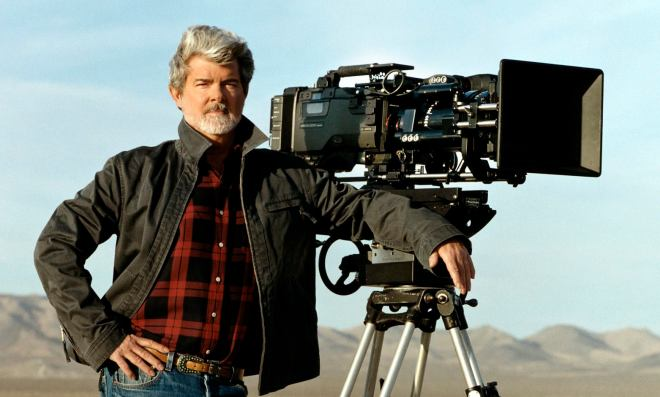 Director George Lucas is shown standing next to a digital movie camera used to shoot, 'Star Wars: Episode II Attack of the Clones,' on the set of the film, in this undated photo. Lucas shot the entire film using digital cameras and hoped to have the film shown with digital projectors in theaters. Studio and theater executives counter that the technology is not ready for mass use and that complex questions remain on setting industry-wide standards, avoiding piracy and financing digital-projection systems, which can cost up to $150,000 for each screen. (AP Photo/Lucasfilm Ltd.)