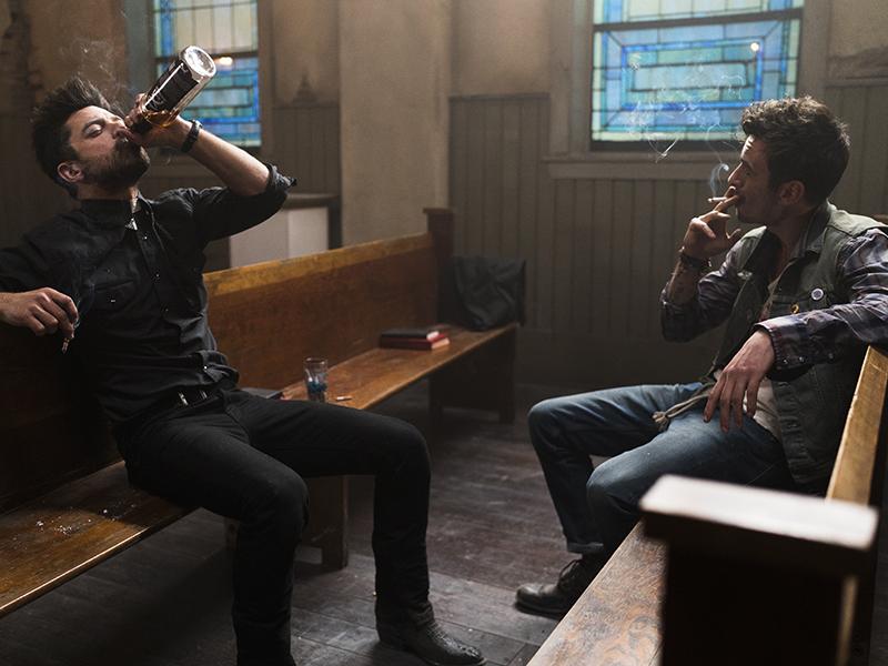 Dominic Cooper as Jesse Custer, Joseph Gilgun as Cassidy - Preacher _ Season 1, Episode 1 - Photo Credit: Lewis Jacobs/Sony PIctures Televsion/AMC