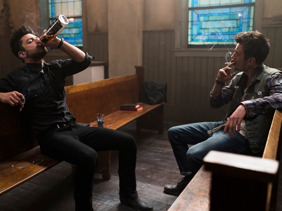 Dominic Cooper as Jesse Custer, Joseph Gilgun as Cassidy - Preacher _ Season 1, Episode 1 - Photo Credit: Lewis Jacobs/Sony PIctures Televsion/AMC